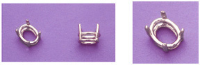 a15710 14kt White Gold Oval Cast Wire Head For a 7X5mm Oval Faceted Gem.