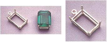 a16116 14kt White Gold Emerald Shape Cast Wire Dangle Pendant For an 8X6mm Emerald Cut Faceted Gem.
