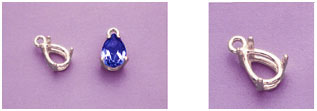 a16155 14kt White Gold Pear Cast Wire Dangle Pendant For a 14X8mm Pear Shape Faceted Gem.