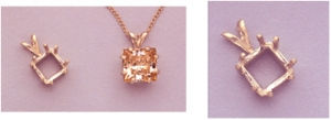 a10337 14kt Yellow Gold Eight Prong Square Pendant For a 6X6mm Square or Cushion Shape Faceted Gem.