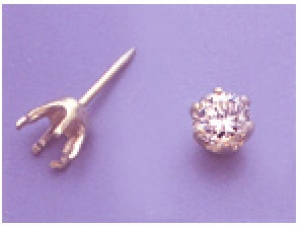 a13423 14kt Yellow Gold Six Prong Round Faceted Tie Tack For a 5mm Round Faceted Gem.  Use diamond cut stones.