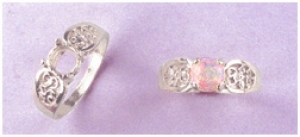 a15248 14kt White Gold Ladies Round Filigree Cabochon Ring For an 8mm Round Cabochon Stone.  Finger Size 7
