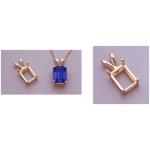 a10042 14kt Yellow Gold Emerald Shape Cast Wire Pendant For a 5X3mm Emerald Cut Faceted Gem.