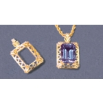a10080 14kt Yellow Gold Fancy Emerald Shape Pendant For a 14X10mm Well Proportioned Emerald Cut Faceted Gem.