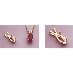 a10091 14kt Yellow Gold Marquise Cast Wire Pendant For an 8X4mm Marquise Cut Faceted Gem.