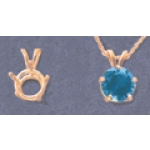 a10284 14kt Yellow Gold Five Prong Wire Pendant For a 9mm Round Faceted Gem. Use with deep cut stones.