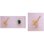 a10717 14kt Yellow Gold Emerald Shape Triple Accented Cast Wire Earring For a 6X4mm Emerald Cut Faceted Gem with (3) 1.6mm diamond cut accents. Sold by the Piece NOT as Pairs.