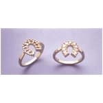 a11001 14kt Yellow Gold Ladies Cluster Horseshoe Ring For (9) 2.25mm Round Diamond Cut Faceted Gems.  Finger Size 6