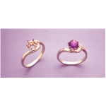 a11103 14kt Yellow Gold Ladies Crescent Ring For a 4mm Round Faceted Gem. Use well proportioned stones.   Finger Size 5