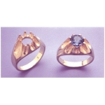a11304 10kt Yellow Gold Gents Gypsy Ring For a 10mm Round Faceted Gem. Use well proportioned stones. Finger Size 10