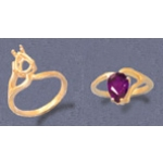 a11401.5 14kt Yellow Gold Ladies Pear Shape Half-Vee Shank Ring. For a 9x6mm Pear Shape Faceted Gem. Finger Size 7