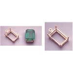 a12848 14kt Yellow Gold Emerald Shape Cast Wire Dangle Pendant For a 7X5mm Emerald Cut Faceted Gem.