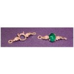 a13207 14kt Yellow Gold Oval Cabochon Leaf  Bracelet Link For a 7X5mm Oval Cabochon Cut Gem.