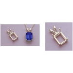 a13534 14kt White Gold Emerald Shape Cast Wire Pendant For a 5X3mm Emerald Cut Faceted Gem.