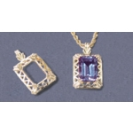 a13572 14kt White Gold Fancy Emerald Shape Pendant For a 14X10mm Well Proportioned Emerald Cut Faceted Gem.