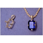a13573 14kt White Gold Emerald Shape Regalle Pendant For a 10X8mm Emerald Cut Rectangular or Cushion Cut Faceted Gem.