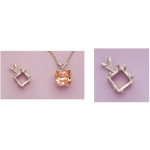 a13828 14kt White Gold Eight Prong Square Pendant For a 6X6mm Square or Cushion Shape Faceted Gem.