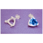 a14356 14kt White Gold Vee-Prong Trillion Shape Earring For a 4X4mm Triangle or Trillion Cut Faceted Gem.  Use well proportioned stones. Sold by the Piece NOT as Pairs.