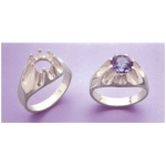a14766 10kt White Gold Gents Gypsy Ring For a 9mm Round Faceted Gem. Use well proportioned stones. Finger Size 10