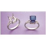 a14912 14kt White Gold Ladies Emerald Shape Wire Mount Ring For a 9X7mm Emerald Cut Faceted Gem. Finger Size 5