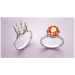 a15565 14kt White Gold Ladies Round Deep Cut Ring For a 9mm Round Faceted Gem.  Use deep cut stones. Finger Size 8