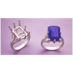 a15581 14kt White Gold Ladies Eight Prong Emerald Shape Ring For a 14X10mm Emerald Cut Faceted Gem.  Finger Size 8