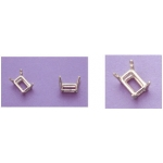 a15671 14kt White Gold Emerald Cut Wire Head For a 5X3mm Emerald Cut Faceted Gem.