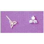 a16521 14kt White Gold Three Stone Tie Tack For (3) 3mm Round Faceted Gems. Use diamond cut stones.