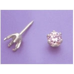 a16582 14kt White Gold Six Prong Round Faceted Tie Tack For a 5mm Round Faceted Gem.  Use diamond cut stones.