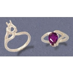 a18010.5 Sterling Silver Ladies Pear Shape Half-Vee Shank Ring. For a 9x6mm Pear Shape Faceted Gem. Finger Size 7