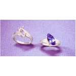 a18377 Sterling Silver Ladies Fancy Offset Marquise Ring For a 12X6mm Marquise Cut Faceted Gem.  Finger Size 7