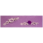 a19697 Sterling Silver Oval Cabochon Heart Bracelet Link For a 7X5mm Oval Cabochon Cut Gem.