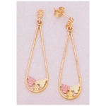 a24373 10kt Gold Two-Leaf Long Dangle Earrings  10kt Gold Earrings with 12kt Red And Green Gold Leaves.  Priced Per Pair with Earnuts.