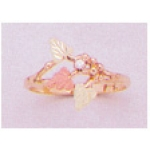 a24428 10kt Gold Three-Leaf Ring with 12kt Red And Green Gold Leaves and a 1.6mm Diamond.  Finger Size 4