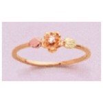 a24628 10kt Gold Rose And Leaf Promise Ring with 1.6mm Diamond 10kt Gold Ring with 12kt Red And Green Gold Leaves and a 1.6mm Round Diamond.  Finger Size 4