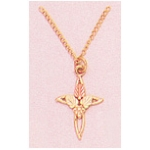 "a24707 10kt Gold Three-Leaf Tiny Cross Pendant            10kt Gold Pendant with 12kt Red And Green Gold Leaves.  Includes an 18"" 14Kt Gold Chain"