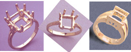 Example of Square Cut  Faceted Rings